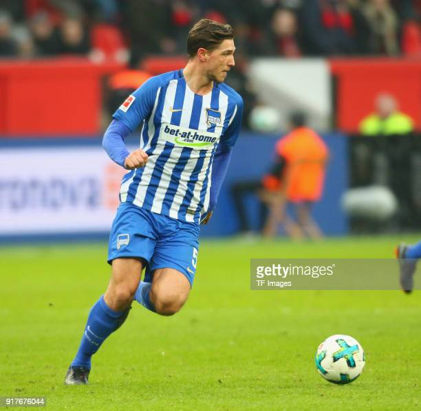Niklas Stark of Berlin controls the ball during the Bundesliga match between Bayer 04 Leverkusen and Hertha BSC at BayArena on February 10 2018 in...