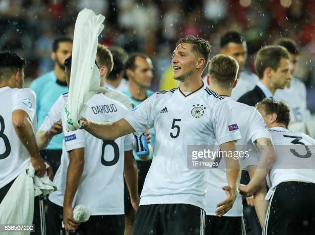 Niklas Stark of Germany gestures during the UEFA U21 Final match between Germany and Spain at Krakow Stadium on June 30 2017 in Krakow Poland