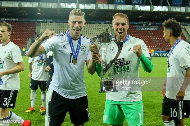 Niklas Stark of Germany Goalkeeper Marvin Schwaebe of Germany mit Pokal during the UEFA U21 Final match between Germany and Spain at Krakow Stadium...