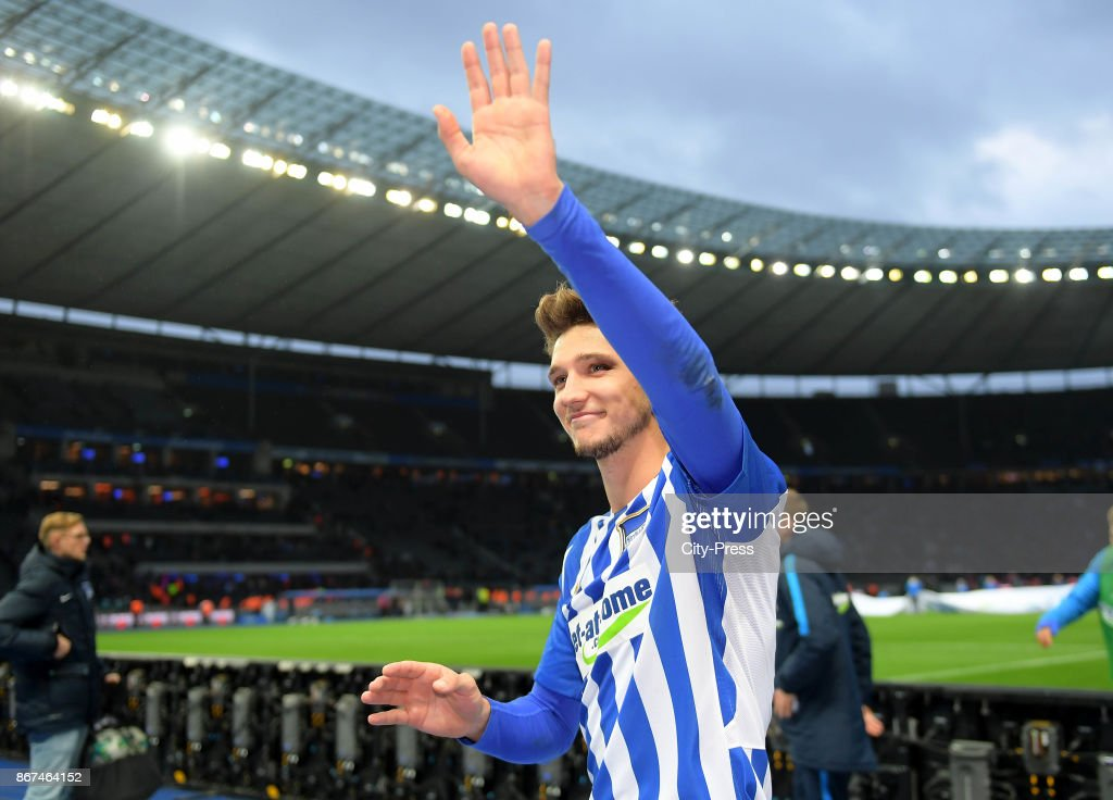 Niklas Stark of Hertha BSC after the game between Hertha BSC and Hamburger SV on October 28, 2017 in Berlin, Germany.
