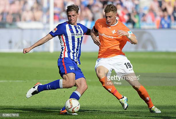 Niklas Stark of Hertha BSC and Felix Platte of SV Darmstadt 98 during the game between Hertha BSC and SV Darmstadt 98 on may 7 2016 in Berlin Germany