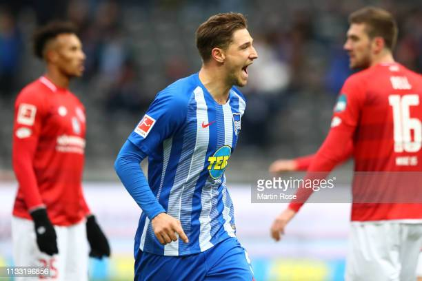Niklas Stark of Hertha BSC celebrates after scoring his team's second goal during the Bundesliga match between Hertha BSC and 1 FSV Mainz 05 at...