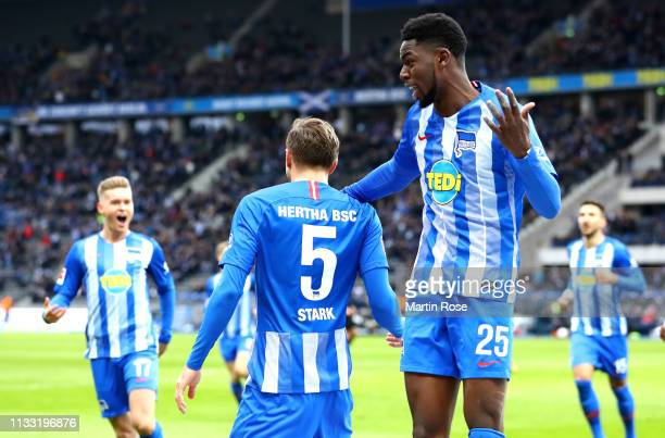 Niklas Stark of Hertha BSC celebrates after scoring his team's second goal with Jordan Torunarigha of Hertha BSC during the Bundesliga match between...