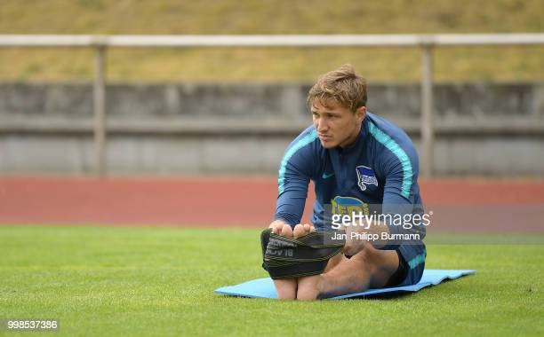 Niklas Stark of Hertha BSC during the training camp at VolksparkStadion on July 14 2018 in Neuruppin Germany