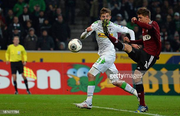 Niklas Stark of Nuernberg scores an own goal during the Bundesliga match between Borussia Moenchengladbach and 1 FC Nuernberg at BorussiaPark on...
