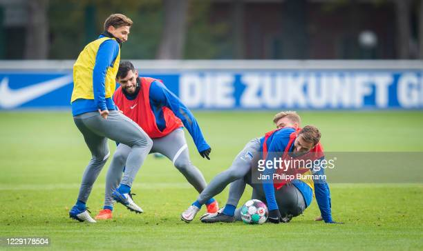 Niklas Stark Omar Alderete Maximilian Mittelstaedt and Lucas Tousart of Hertha BSC during the training session on October 20 2020 in Berlin Germany