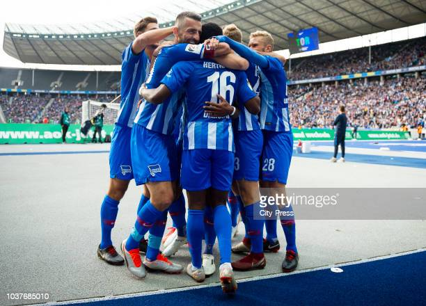 Niklas Stark Vedad Ibisevic Javairo Dilrosun Arne Maier and Fabian Lustenberger of Hertha BSC celebrate after scoring the 21 during the game between...