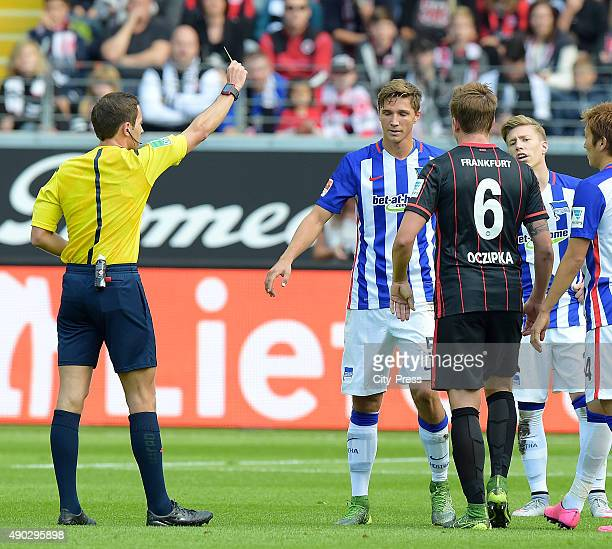 Niklas Starke of Hertha BSC and Bastian Oczipka of Eintracht Frankfurt during the game between Eintracht Frankfurt and Hertha BSC on September 27...