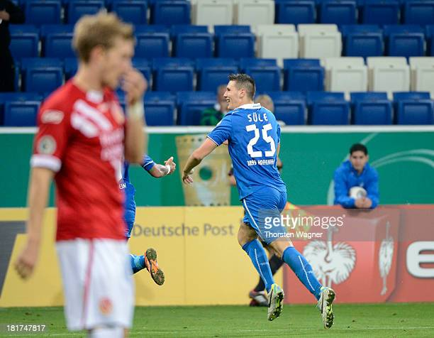 Niklas Suehle of Hoffenheim celebrates after scoring his teams opening goal during the DFB Cup second round match between TSG 1899 Hoffenheim and FC...