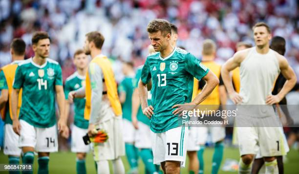 Niklas Suele Leon Goretzka and Manuel Neuer of Germany are disappointed following the 2018 FIFA World Cup Russia group F match between Korea Republic...