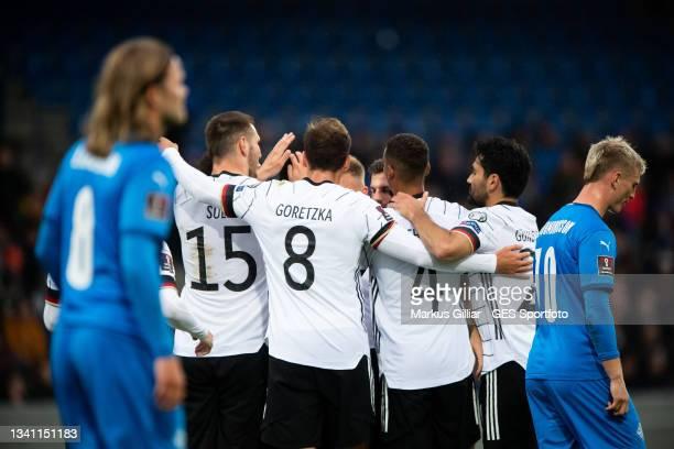 Niklas Suele, Leon Goretzka, Thilo Kehrer, Ilkay Guendogan of Germany celebrates their team's second goal during the 2022 FIFA World Cup Qualifier...