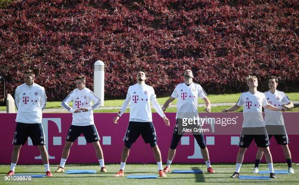 Niklas Suele Marco Friedl Sandro Wagner Tom Starke Felix Goetze and Sebastian Rudy attend a training session on day 3 of the FC Bayern Muenchen...