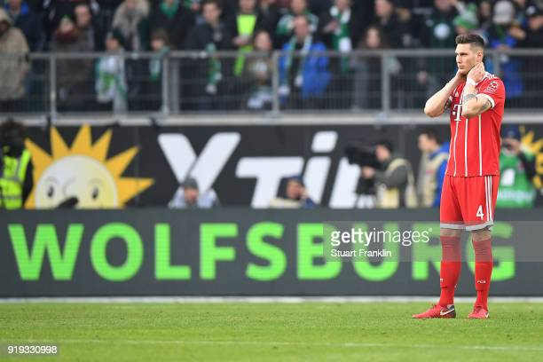 Niklas Suele of Bayern Muenchen looks dejected during the Bundesliga match between VfL Wolfsburg and FC Bayern Muenchen at Volkswagen Arena on...