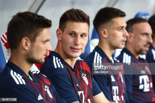 Niklas Suele of Bayern Muenchen on the bench during the Bundesliga match between TSG 1899 Hoffenheim and FC Bayern Muenchen at Wirsol...