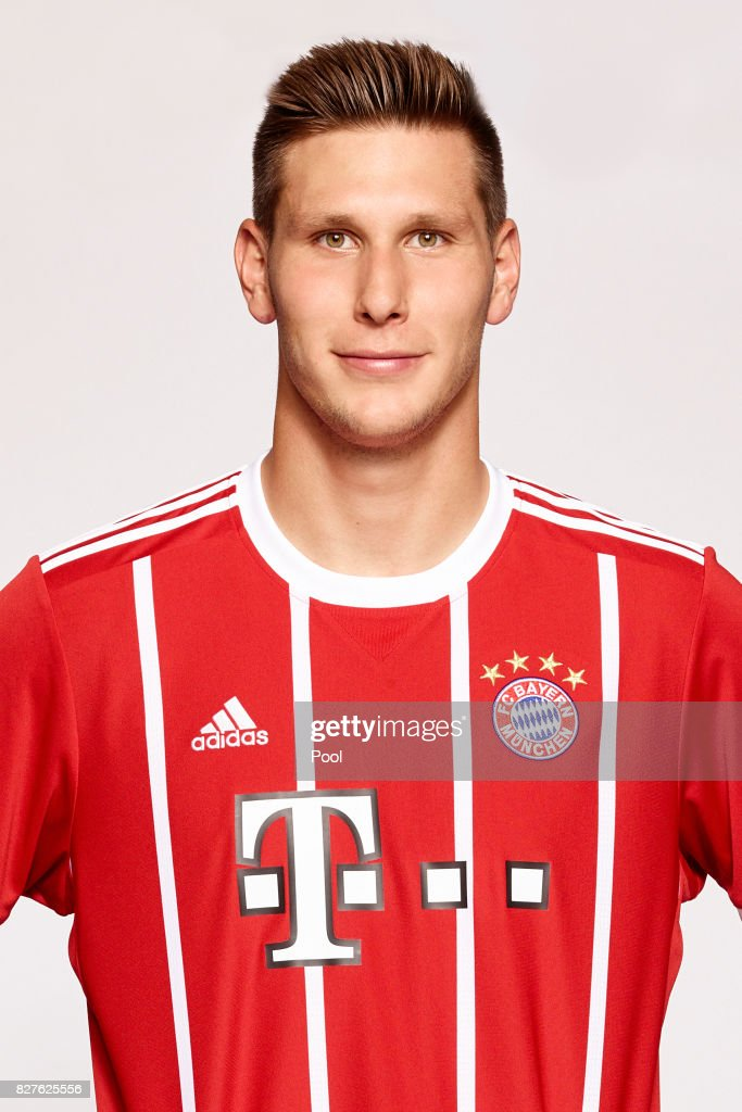 Niklas Suele of FC Bayern Muenchen poses during the team presentation at Allianz Arena on August 8, 2017 in Munich, Germany.
