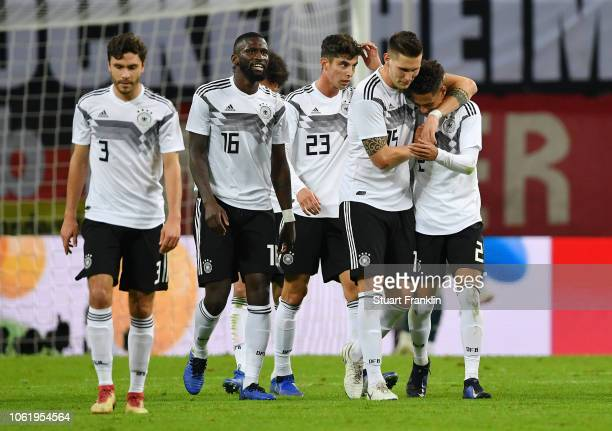 Niklas Suele of Germany celebrates after scoring his team's second goal with Thilo Kehrer of Germany during the International Friendly match between...