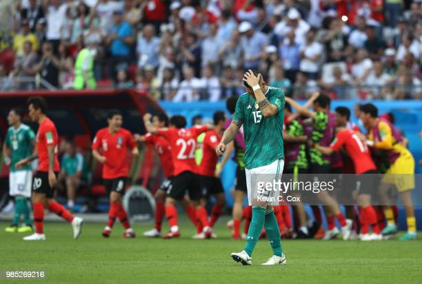 Niklas Suele of Germany looks dejected following his sides defeat in the 2018 FIFA World Cup Russia group F match between Korea Republic and Germany...