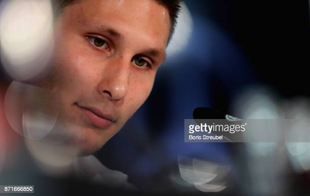 Niklas Suele of Germany looks on during a press conference ahead of a international friendly match against England at Mercedes Benz am Salzufer on...