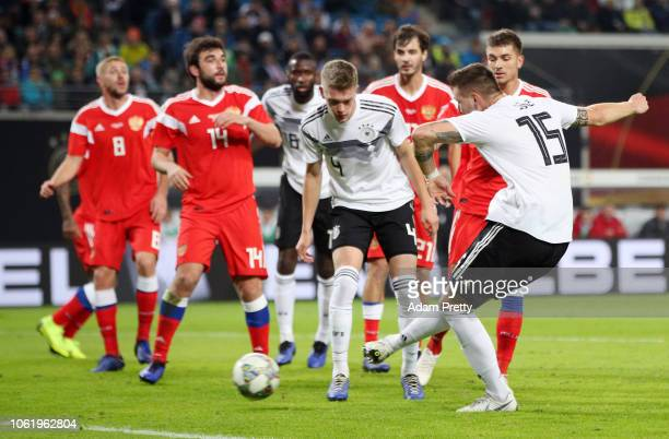 Niklas Suele of Germany scores his team's second goal during the International Friendly match between Germany and Russia at Red Bull Arena on...