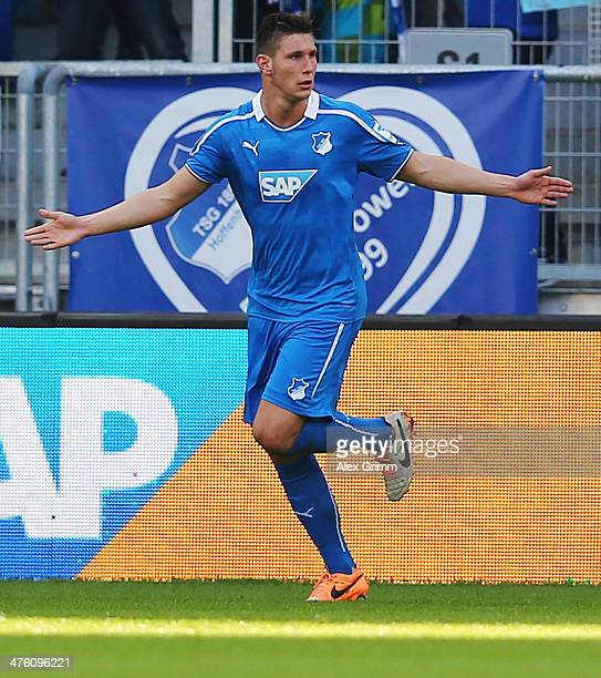 Niklas Suele of Hoffenheim celebrates his team's second goal during the Bundesliga match between 1899 Hoffenheim and VfL Wolfsburg at Wirsol...