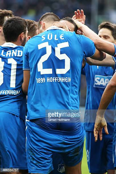 Niklas Suele of Hoffenheim celebrates his team's second goal with his shorts down during the Bundesliga match between 1899 Hoffenheim and Hamburger...