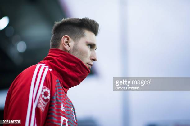 Niklas Suele of Muenchen looks on prior to the Bundesliga match between SportClub Freiburg and FC Bayern Muenchen at SchwarzwaldStadion on March 4...