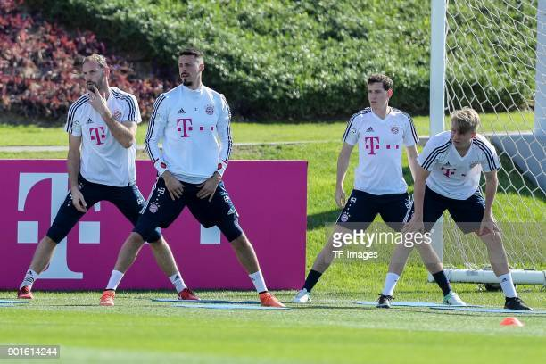 Niklas Suele of Muenchen Marco Friedl of Muenchen Goalkeeper Tom Starke of Muenchen and Sandro Wagner of Muenchen in action during the FC Bayern...