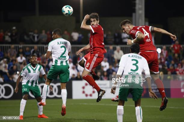 Niklas Suele scores his team's sixth goal during the friendly match between AlAhli and Bayern Muenchen on day 5 of the FC Bayern Muenchen training...
