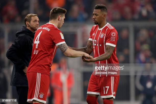 Niklas Sule of Bayern Munchen Jerome Boateng of Bayern Munchen during the German Bundesliga match between Bayern Munchen v Schalke 04 at the Allianz...