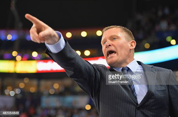 Niklas Sunblad head coach of Ingolstadt gestures during the DEL semi final playoff game between Hamburg Freezers and ERC Ingolstadt at O2 World on...