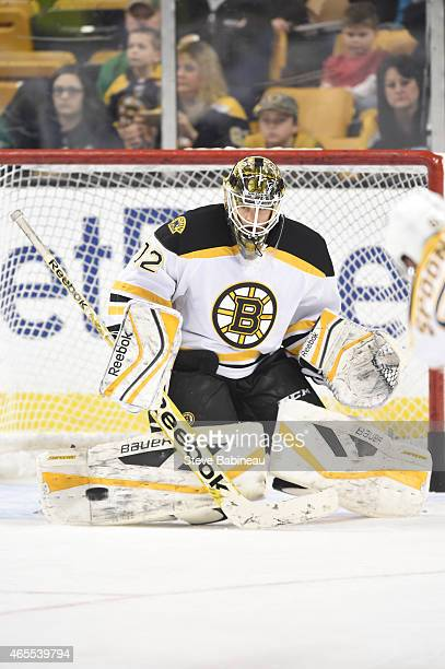 Niklas Svaedberg of the Boston Bruins during warm ups before the game against the Philadelphia Flyers at the TD Garden on March 7 2015 in Boston...