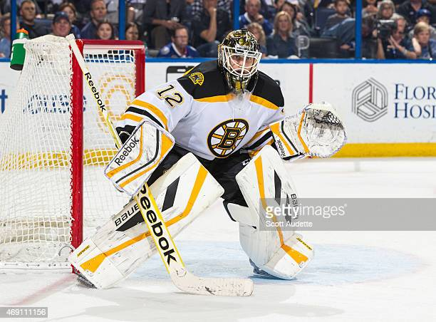 Niklas Svedberg of the Boston Bruins against the Tampa Bay Lightning at the Amalie Arena on March 22 2015 in Tampa Florida