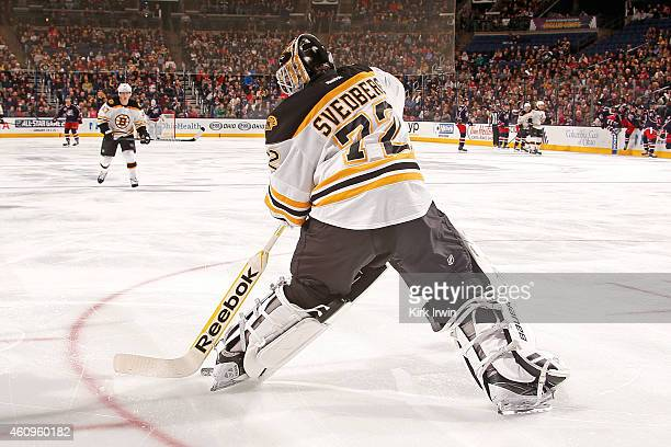 Niklas Svedberg of the Boston Bruins controls the puck during the game against the Columbus Blue Jackets on December 27 2014 at Nationwide Arena in...