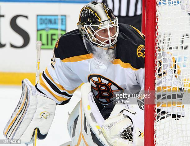 Niklas Svedberg of the Boston Bruins defends the net against the Buffalo Sabres at First Niagara Center on October 18 2014 in Buffalo New York