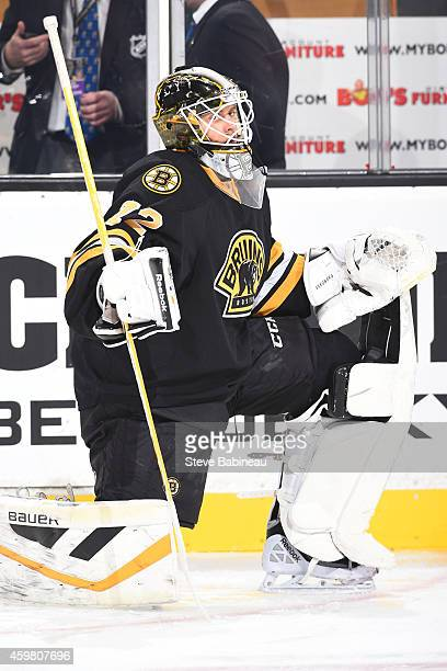 Niklas Svedberg of the Boston Bruins during warm ups before the game against the Winnipeg Jets at the TD Garden on November 28 2014 in Boston...