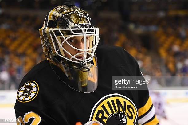 Niklas Svedberg of the Boston Bruins during warm ups before the game against the New York Rangers at the TD Garden on March 28 2015 in Boston...