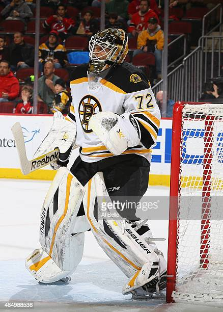 Niklas Svedberg of the Boston Bruins in action against the New Jersey Devils during their game at the Prudential Center on February 27 2015 in Newark...