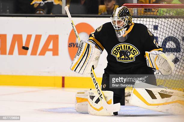 Niklas Svedberg of the Boston Bruins in the net during warm ups against the Colorado Avalanche at the TD Garden on October 13 2014 in Boston...