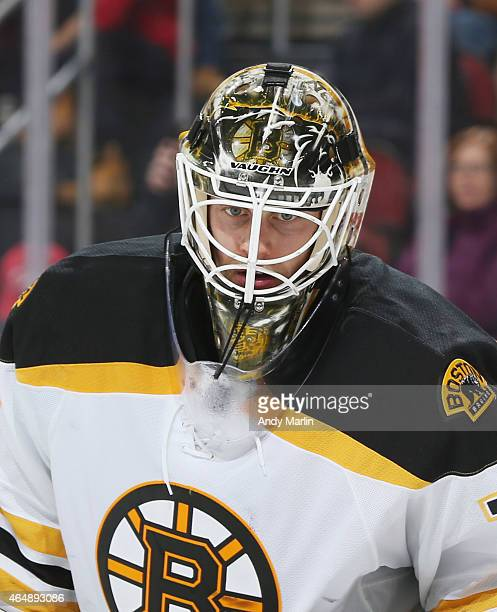 Niklas Svedberg of the Boston Bruins looks on against the New Jersey Devils during the game at the Prudential Center on February 27 2015 in Newark...