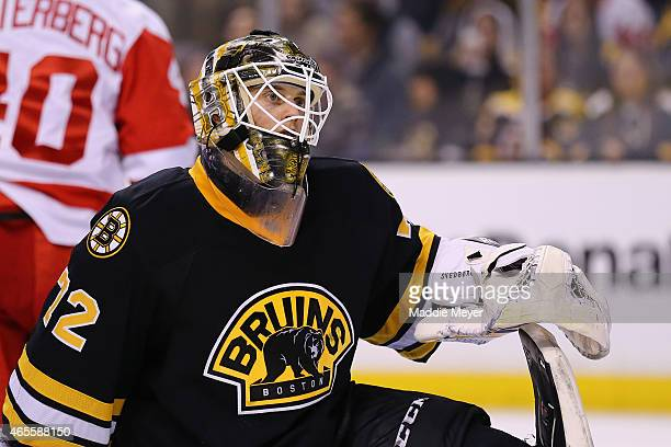 Niklas Svedberg of the Boston Bruins looks on during the second period against the Detroit Red Wings at TD Garden on March 8 2015 in Boston...