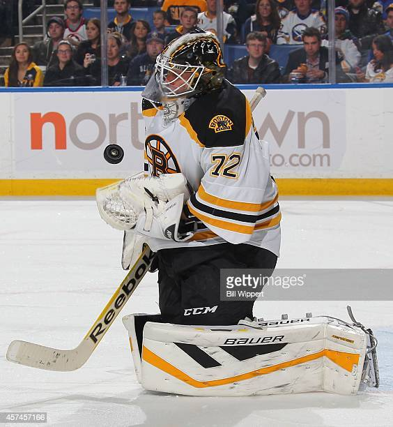 Niklas Svedberg of the Boston Bruins makes a first period save during his game against the Buffalo Sabres on October 18 2014 at the First Niagara...