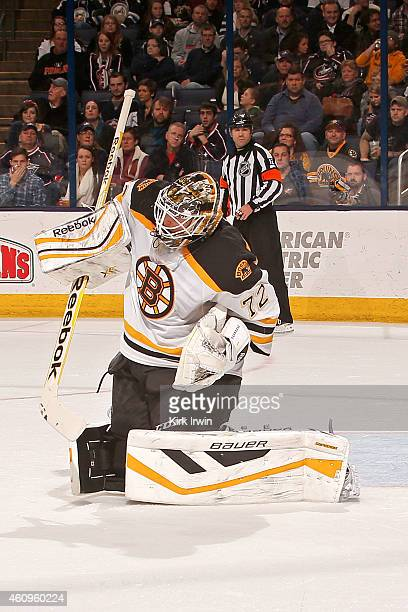 Niklas Svedberg of the Boston Bruins makes a save during the game against the Columbus Blue Jackets on December 27 2014 at Nationwide Arena in...