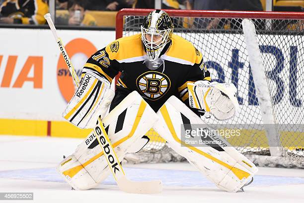Niklas Svedberg of the Boston Bruins on the ice for warm ups against the Philadelphia Flyers during the season opener at the TD Garden on October 8...