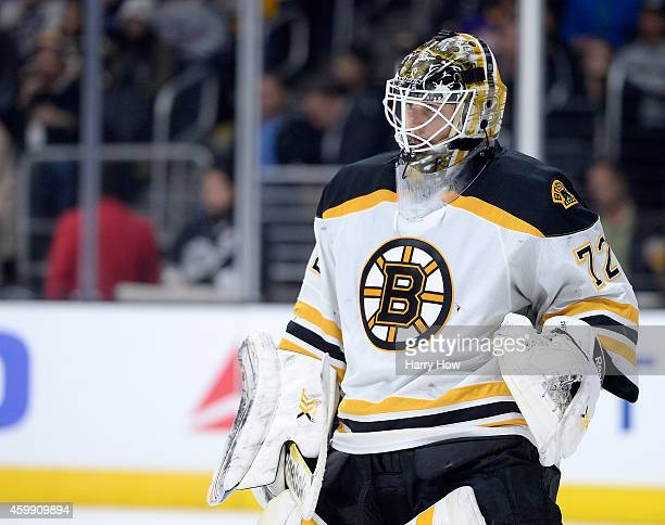 Niklas Svedberg of the Boston Bruins sets up for a faceoff during the game against the Los Angeles Kings at Staples Center on December 2 2014 in Los...