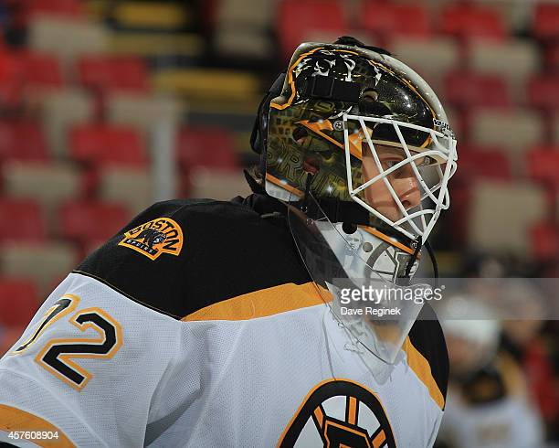 Niklas Svedberg of the Boston Bruins skates in warmups prior to the NHL game against the Boston Bruins on October 15 2014 at Joe Louis Arena in...