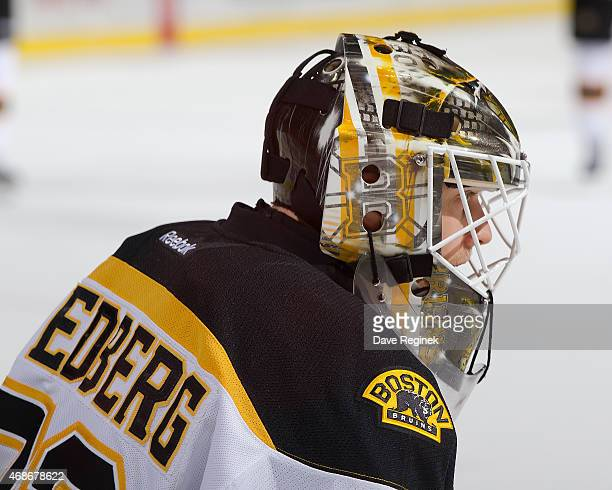Niklas Svedberg of the Boston Bruins stretches in warmups before a NHL game against the Detroit Red Wings on April 2 2015 at Joe Louis Arena in...