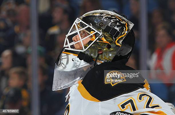 Niklas Svedberg of the Boston Bruins tends goal against the Buffalo Sabres on October 18 2014 at the First Niagara Center in Buffalo New York