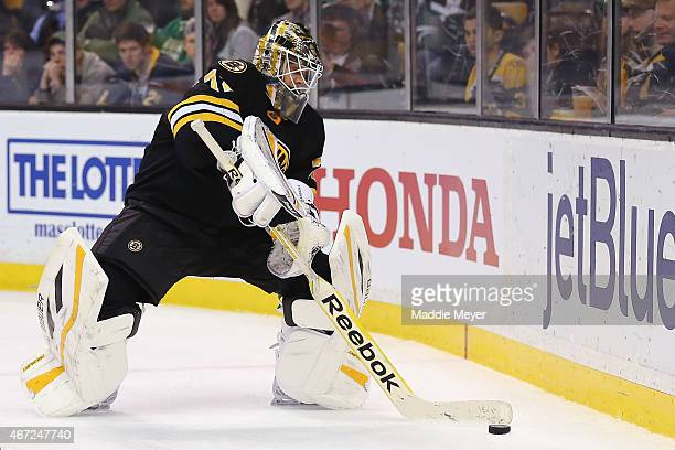 Niklas Svedberg of the Boston Bruins tends net against the Buffalo Sabres during the second period at TD Garden on March 17 2015 in Boston...