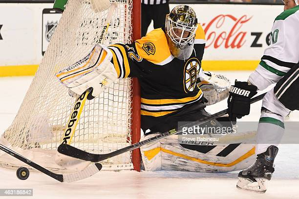 Niklas Svedberg of the Boston Bruins watches the loose puck against the Dallas Stars at the TD Garden on February 10 2015 in Boston Massachusetts