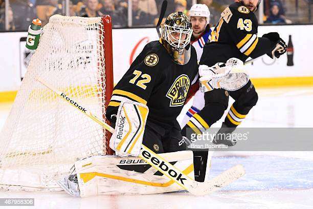 Niklas Svedberg of the Boston Bruins watches the play against the New York Rangers at the TD Garden on March 28 2015 in Boston Massachusetts